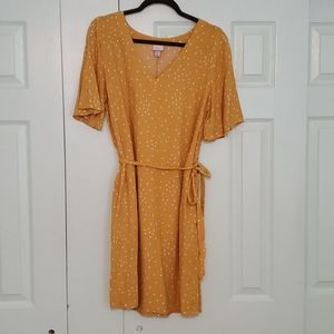 Mustard Polka-dot Flutter-sleeve Dress- women XL